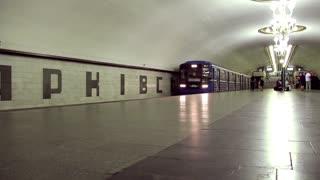 People on underground station timelapse