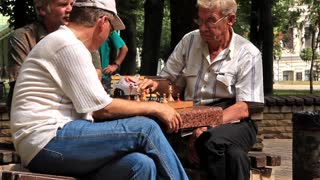 People play chess in the park