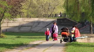 People with children in park