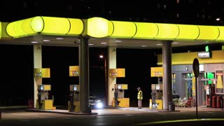 Petrol station with yellow roof