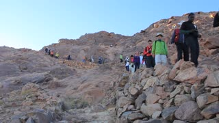 Pilgrims on Moses Mountain. Sinai. Egypt. Mount Sinai, also known as Mount Horeb, is a mountain in the Sinai Peninsula of Egypt that is the traditional and most accepted identification of the Biblical Mount Sinai.