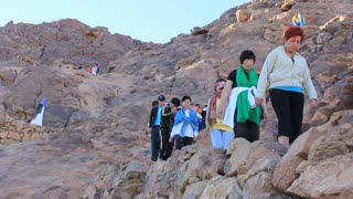 Pilgrims on Moses Mountain, Sinai Peninsula, Egypt. Mount Sinai, also known as Mount Horeb, is a mountain in the Sinai Peninsula of Egypt that is the traditional and most accepted identification of the Biblical Mount Sinai.
