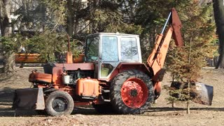 Red tractor video stock footage