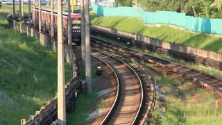 Red train video stock footage