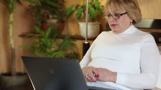 Senior woman communicates using laptop. Woman with a notebook