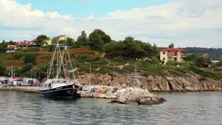 Ship at shore, Aegean Sea, Chalkidiki, Greece