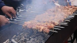 Shish kebab video stock footage