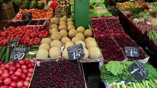 Shop counter with fresh fruits