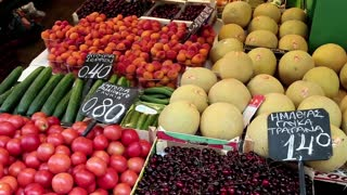 Shop counter with fruits