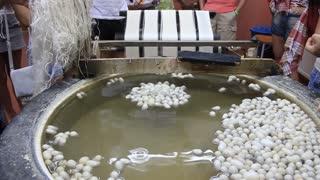 Silkworm cocoon on silk mill. Silk-reeling establishment