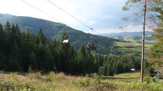Ski lift in Carpatian mountains