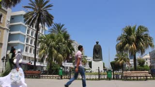 Statue of Ibn Khaldun, Tunisian historian and philosopher in Tunis, Tunisia