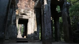 Stone structures in Angkor Thom temple complex in Siem Reap, Cambodia