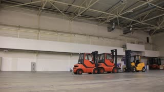 Storage room and forklift loaders