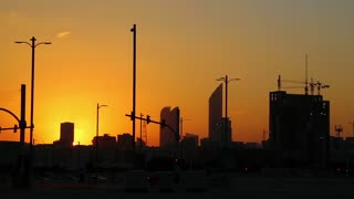 Sunset in Abu Dhabi - capital and 2nd most populous city in United Arab Emirates, after Dubai, and also capital of Abu Dhabi emirate. Abu Dhabi emirate is the largest of seven emirates in UAE
