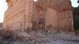 Temple of the Qasr al-Bint, oldest and most venerable temple complex in Petra - ancient historical and archaeological rock-cut city in Hashemite Kingdom of Jordan. UNESCO world heritage site