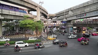 THAILAND, BANGKOK, APRIL 11, 2014: Timelapse of road traffic in Bangkok, Thailand