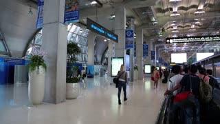THAILAND, BANGKOK, MARCH 30, 2014: People inside Bangkok international airport, Thailand
