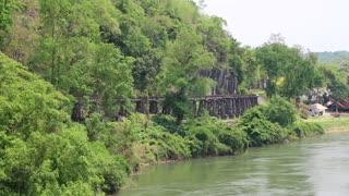 THAILAND, KANCHANABURI PROVINCE, APRIL 5, 2014: Old railroad near Kwai river in Thailand