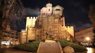 The Golden Gate (and Yaroslav The Wise monument) in Kiev is a major landmark of the ancient Kiev and historic gateway in the very old city fortress, located in the capital of Ukraine (50grad 26min 56sec N 30grad 30min 48sec E).