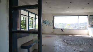 The interior of an abandoned hotel