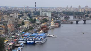 Three big blue motor ship at mooring