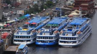 Three big blue motor ship