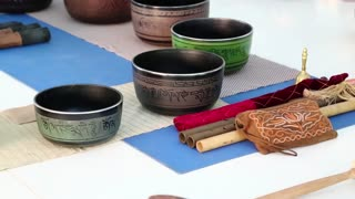 Tibetan bowls. Tibetian singing bowls in meditation hall