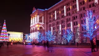 Time Lapse 1080p: New Years Day in Kiev, Ukraine. Kiev (or Kyiv) is the capital and the largest city of Ukraine, located in the north central part of the country on the Dnieper River