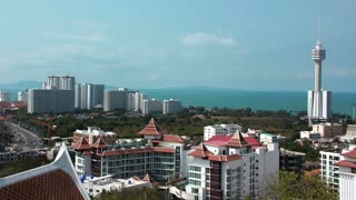 Timelapse 1080p: Panorama view of Pattaya city and Gulf of Siam, Thailand