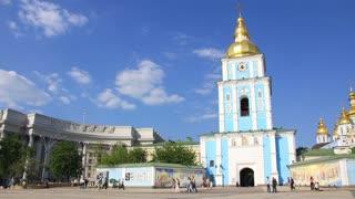 Timelapse 1080p: People near Mikhailovsky Golden-Domed Monastery on Mikhailovskaya square in Kiev, Ukraine