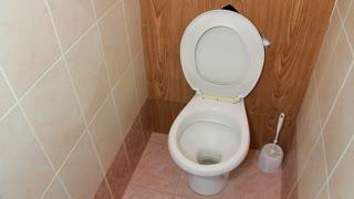 Toilet facility with white toilet sink