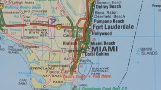 Topographical map of the USA. Miami