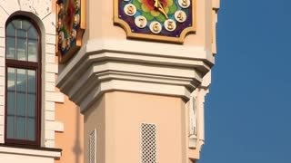 Tower clock of building of Kiev academic puppet theatre in Ukraine. Kiev academical puppet show theatre is one of two Marionette theatres operating in Kiev