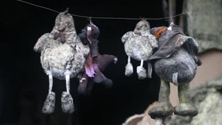 Toys hanging on a wire inside burnt building