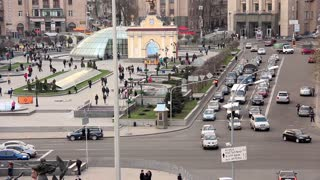 Traffic on square of independence in Kiev, Ukraine