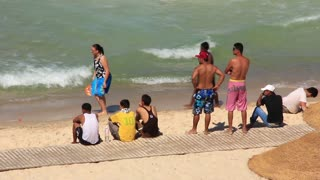 Tunisian people on the beach