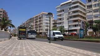 TURKEY, ANTALYA, JUNE 21: 2011: Turkish bus on the street in Antalya, Turkey, June 21, 2011