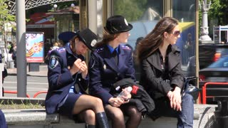 Two policewoman video stock footage
