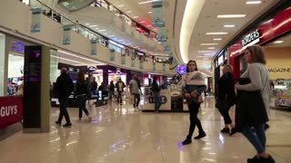 UAE, DUBAI, FEBRUARY 1, 2016: People inside Dubai Mall in United Arab Emirates. Dubai Mall is the world largest shopping mall