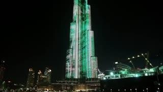 UAE, DUBAI, FEBRUARY 3, 2016: Burj Khalifa megatall skyscraper with night illumination. Burj Khalifa - currently tallest structure and highest skyscraper in the world, 829,8 m or 2,722 ft, Dubai, UAE