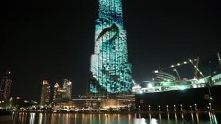 UAE, DUBAI, FEBRUARY 3, 2016: Burj Khalifa megatall skyscraper with night illumination. Burj Khalifa - currently tallest structure and highest skyscraper in the world, 829m, United Arab Emirates
