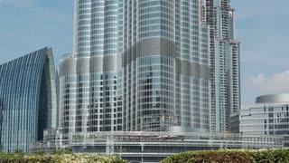 UAE, DUBAI, FEBRUARY 3, 2016: View on Burj Khalifa skyscraper, currently tallest structure in the world, 829 m or 2,722 ft. Burj Khalifa - highest skyscraper in the world, Dubai, United Arab Emirates