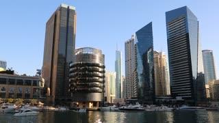 UAE, DUBAI, FEBRUARY 5, 2016: Dubai Marina skyscraper, UAE. Dubai Marina - the largest man-made marina in the world. Dubai Marina is a canal city, carved along a 3 km stretch of Persian Gulf shoreline