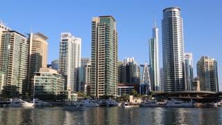 UAE, DUBAI, FEBRUARY 5, 2016: Dubai Marina skyscraper, United Arab Emirates. Dubai Marina - the largest man-made marina in the world. Dubai Marina is a canal city, United Arab Emirates