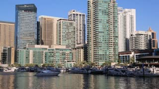UAE, DUBAI, FEBRUARY 5, 2016: Dubai Marina - the largest man-made marina in the world. Dubai Marina is a canal city, carved along a 3 km stretch of Persian Gulf shoreline, UAE