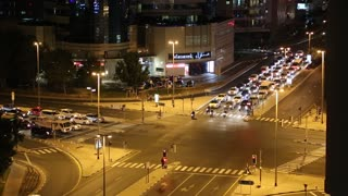 UAE, DUBAI, FEBRUARY 6, 2016: Dubai traffic at night, Bur Dubai, United Arab Emirates. View from City Max Bur Dubai hotel roof