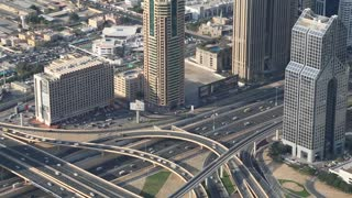 UAE, DUBAI, JANUARY 31, 2016: Dubai downtown traffic, United Arab Emirates. View on Sheikh Zayed road from 124th floor of Burj Khalifa skyscraper in Dubai, currently the tallest structure in the world