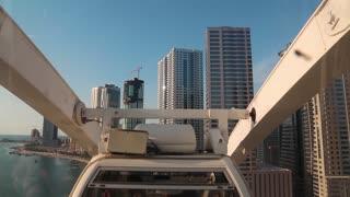 UAE, SHARJAH, FEBRUARY 1, 2016: People inside ferris wheel cabin in Sharjah city, view through plastic windows. The eye of Emirates ferris wheel, United Arab Emirates
