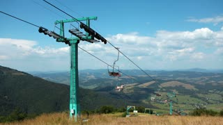 UKRAINE, CARPATHIANS, AUGUST 1, 2014: Timelapse 1080p: People on cable road in carpathian mountains in Ukraine